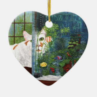 The Cat Aquatic Ceramic Heart Ornament