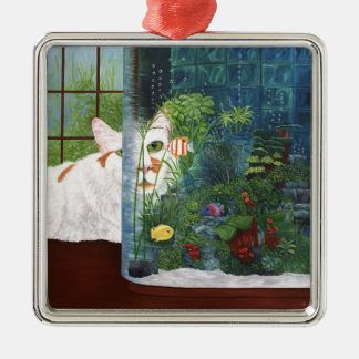 The Cat Aquatic Silver-Colored Square Ornament