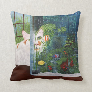 The Cat Aquatic Throw Pillow