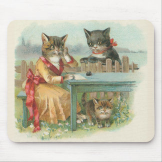 """The Cat Family"" Vintage Mousepad"