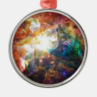 The Cat Galaxy Silver-Colored Round Ornament