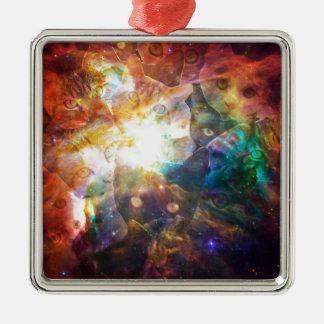 The Cat Galaxy Silver-Colored Square Ornament