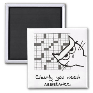 The Cat Helps with the Crossword - Funny Cat Mag Magnet