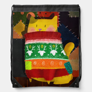 The Cat in the Ugly Sweater Drawstring Bag