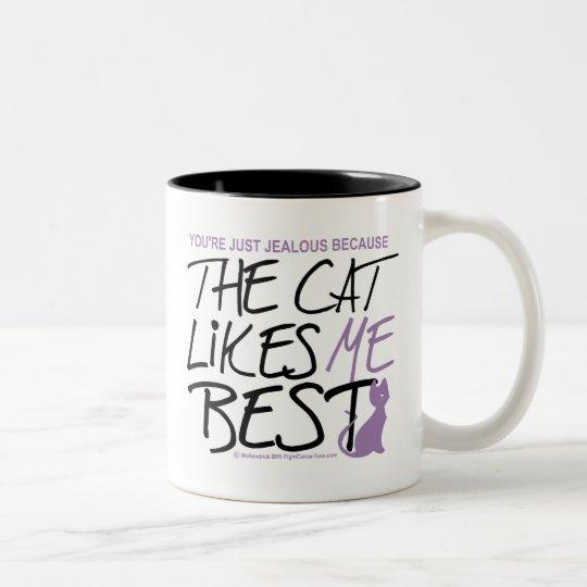 The Cat Likes Me Best Two-Tone Coffee Mug