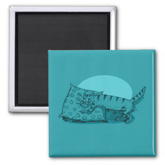 the cat lying on the floor cartoon square magnet
