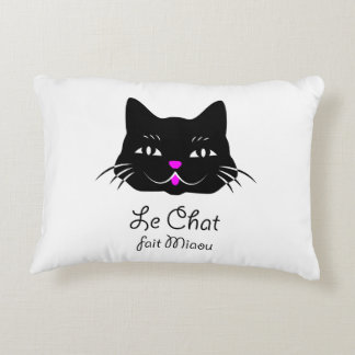 The Cat Says Meow!  Cute French Kitten Cartoon Accent Pillow