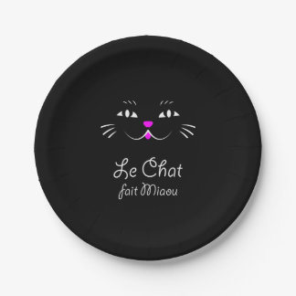The Cat Says Meow!  Funny French Kitty Cat 7 Inch Paper Plate