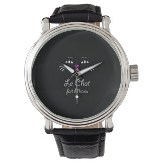 The Cat Says Meow!  Funny French Kitty Cat Wristwatches