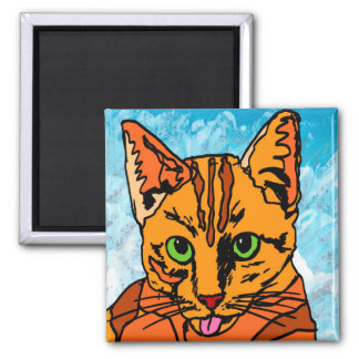 The Cat Square Magnet