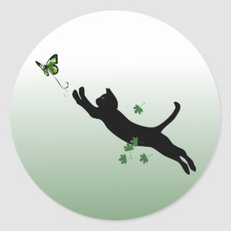 The Cat & The Butterfly Round Sticker