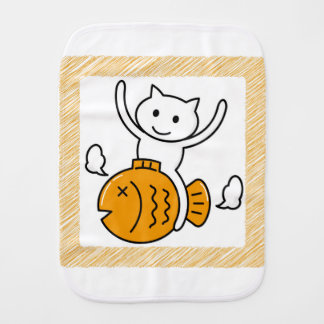 The cat which wants baby burp cloths