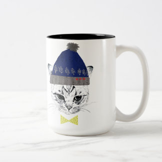 The cat which wears the hat Two-Tone coffee mug