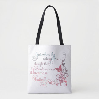 """""""The caterpillar becomes the butterfly"""" tote bag"""