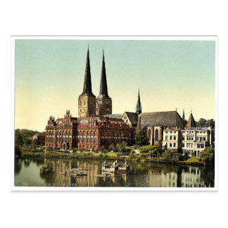 The cathedral and museum, Lubeck, Germany rare Pho Postcard