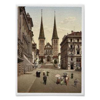 The cathedral, Lucerne, Switzerland vintage Photoc Poster