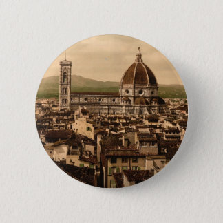 The Cathedral, panoramic view from Vecchio Palace, 2 Inch Round Button