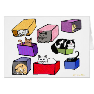 The Cats in Colorful Boxes Card