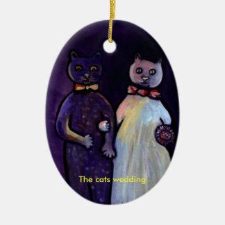 The cats wedding (Ornament) Ceramic Ornament