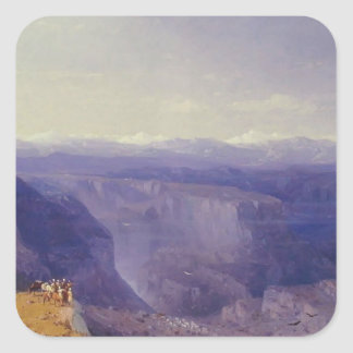 The Caucasus by Ivan Aivazovsky Square Sticker
