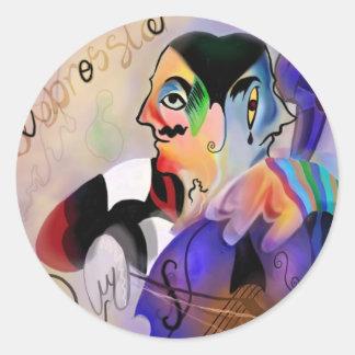 The Cellist Round Sticker