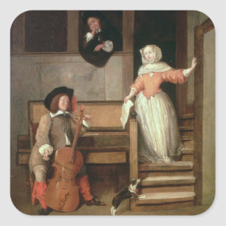 The Cello Player, c.1700 (oil on canvas) Square Sticker