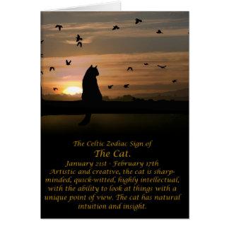 The Celtic Zodiac Sign of the Cat (Aquarius) Card