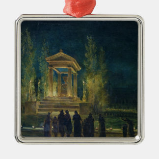 The Cenotaph of Jean Jacques Rousseau Silver-Colored Square Ornament