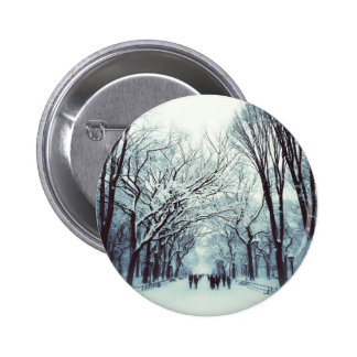 The Central Park Mall In Winter 2 Inch Round Button