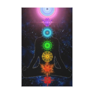 The Chakras - With Stars and Meditation Canvas Print