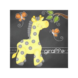 The Chalkboard Jungle: Giraffe Canvas Print