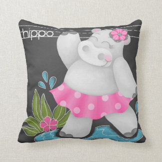 The Chalkboard Jungle - Hippo Pillow