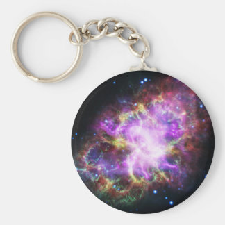 The Chandra X-ray in the Crab Nebula Basic Round Button Keychain