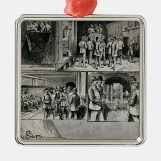 The Channel Tunnel Works at Dover Silver-Colored Square Ornament
