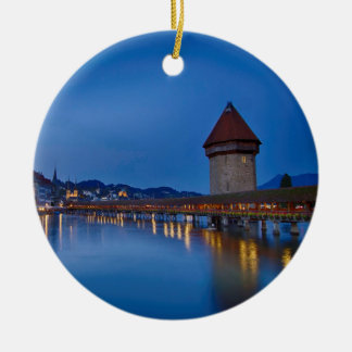 The Chapel Bridge in Lucerne Ceramic Ornament