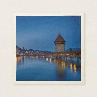 The Chapel Bridge in Lucerne Disposable Napkins