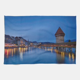 The Chapel Bridge in Lucerne Kitchen Towel