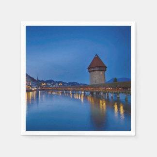The Chapel Bridge in Lucerne Paper Napkin