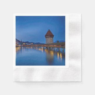 The Chapel Bridge in Lucerne Paper Napkins