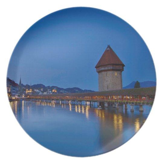 The Chapel Bridge in Lucerne Plate