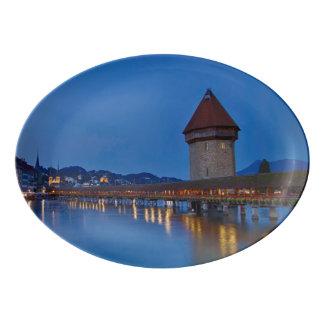 The Chapel Bridge in Lucerne Porcelain Serving Platter