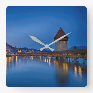 The Chapel Bridge in Lucerne Square Wall Clock