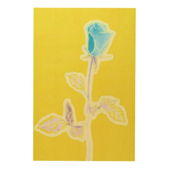 The Charming Blue Rose on Yellow Wood Canvas