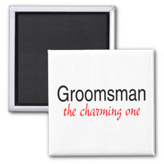 The Charming Groomsman Square Magnet