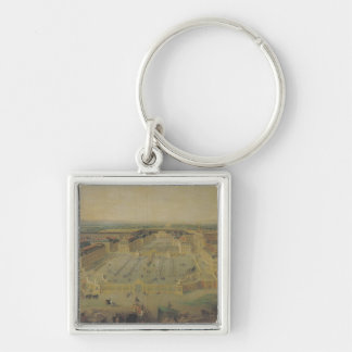 The Chateau de Versailles and the Place Silver-Colored Square Keychain