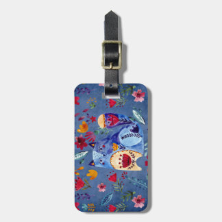 The Cheeky Cat in Flower Garden Luggage Tag
