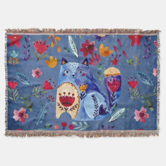 The Cheeky Cat in Flower Garden Throw Blanket