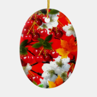 The Cherry Rush Collection Ceramic Oval Ornament