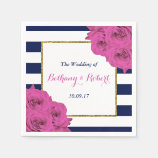 The Chic Modern Luxe Wedding Collection Pink Roses Disposable Napkins