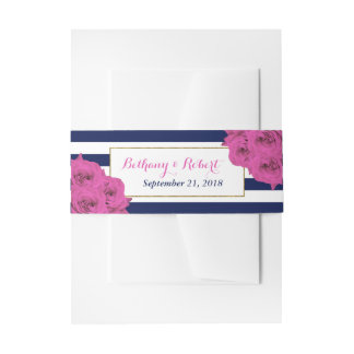The Chic Modern Luxe Wedding Collection Pink Roses Invitation Belly Band